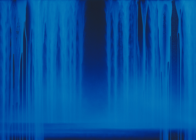 04_Hiroshi Senju, Falling Water, 2013, Acrylic and fluorescent pigments on Japanese mulberry paper, 63 13_16 x 89 1_2 inches © 2013 Hiroshi Senju (image under black light) copy