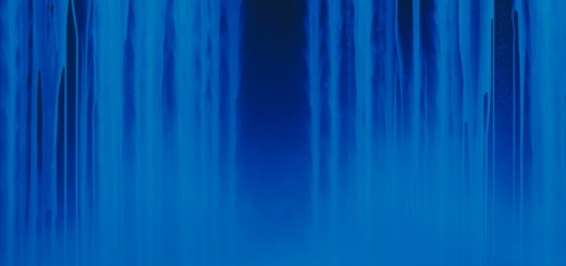 04_Hiroshi Senju, Falling Water, 2013, Acrylic and fluorescent pigments on Japanese mulberry paper, 63 13_16 x 89 1_2 inches © 2013 Hiroshi Senju (image under black light)