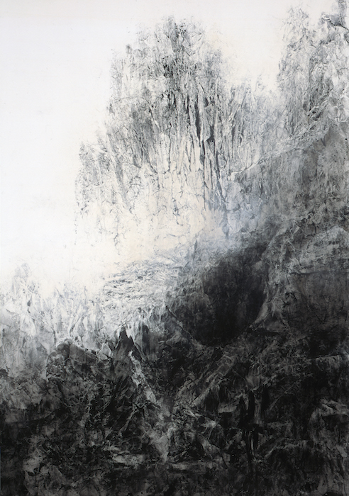 03_Hiroshi Senju, Cliff, 2012, natural, acrylic pigments on Japanese mulberry paper, 102 x 71.5 inches © 2013 Hiroshi Senju