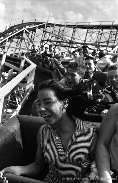 CI-035 Girl on Cyclone, Coney Island, 1950