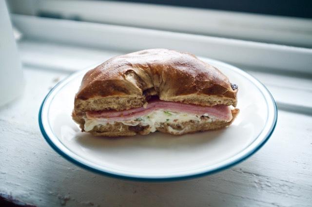 raisin bagel scallion cream cheese ham
