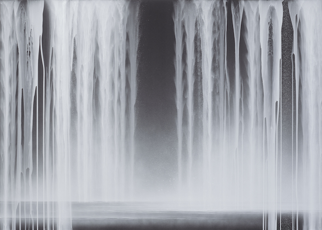 01_Hiroshi Senju, Falling Water, 2013, Acrylic and fluorescent pigments on Japanese mulberry paper, 63 13_16 x 89 1_2 inches © 2013 Hiroshi Senju