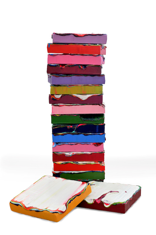 23_Jane Lee, Stack #3, 2013, acrylic paint, heavy gel on mixed-materials base, 7 panels, 39.4 x 12.2 x 8.3 inches overall