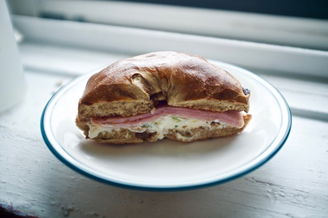 raisin bagel scallion cream cheese ham