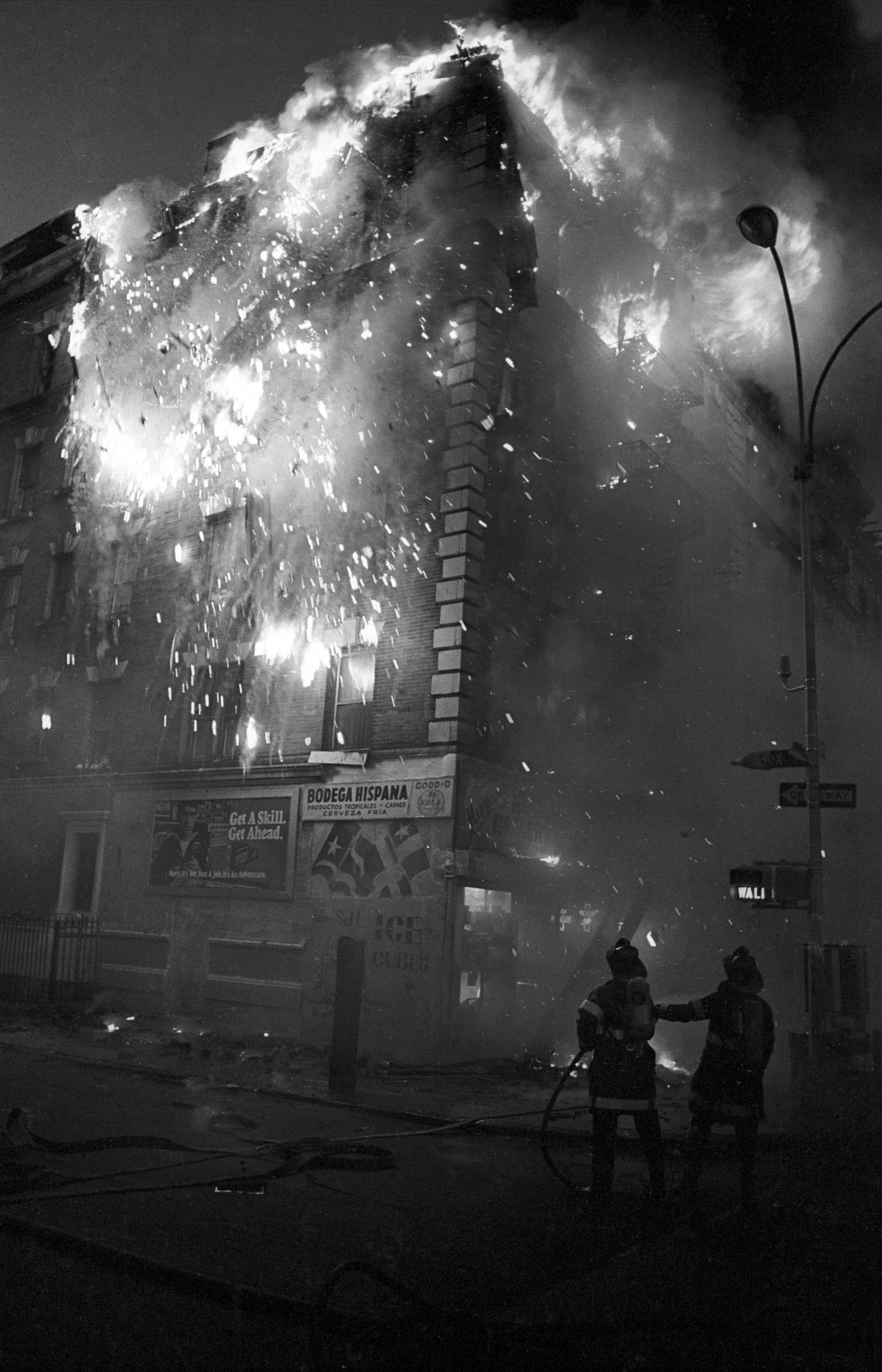 Fire at 800 Fox Street, 1984.  Photo by Ricky Flores