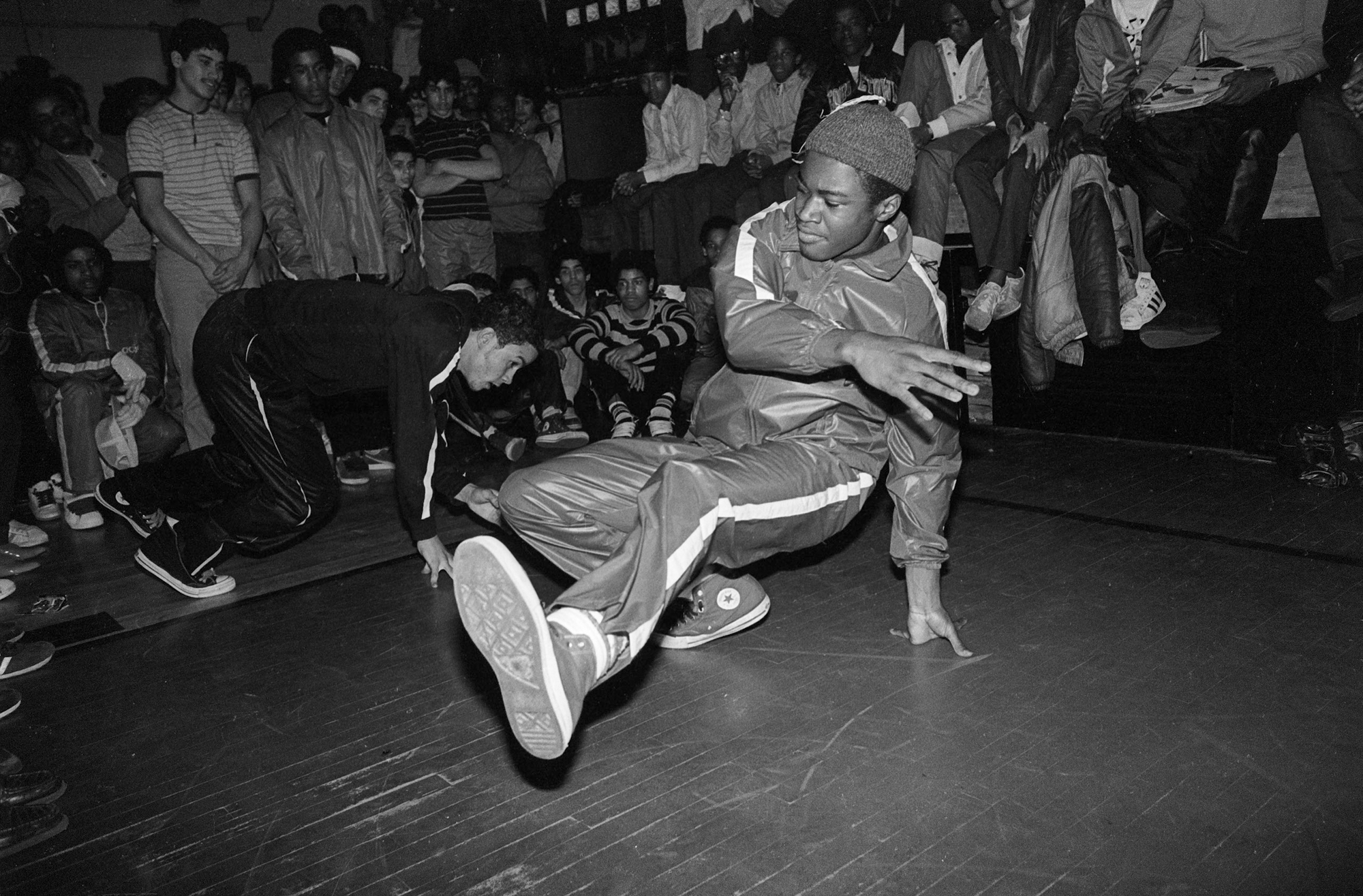 Bboy battle, South Bronx, 1984.  Photo by Ricky Flores