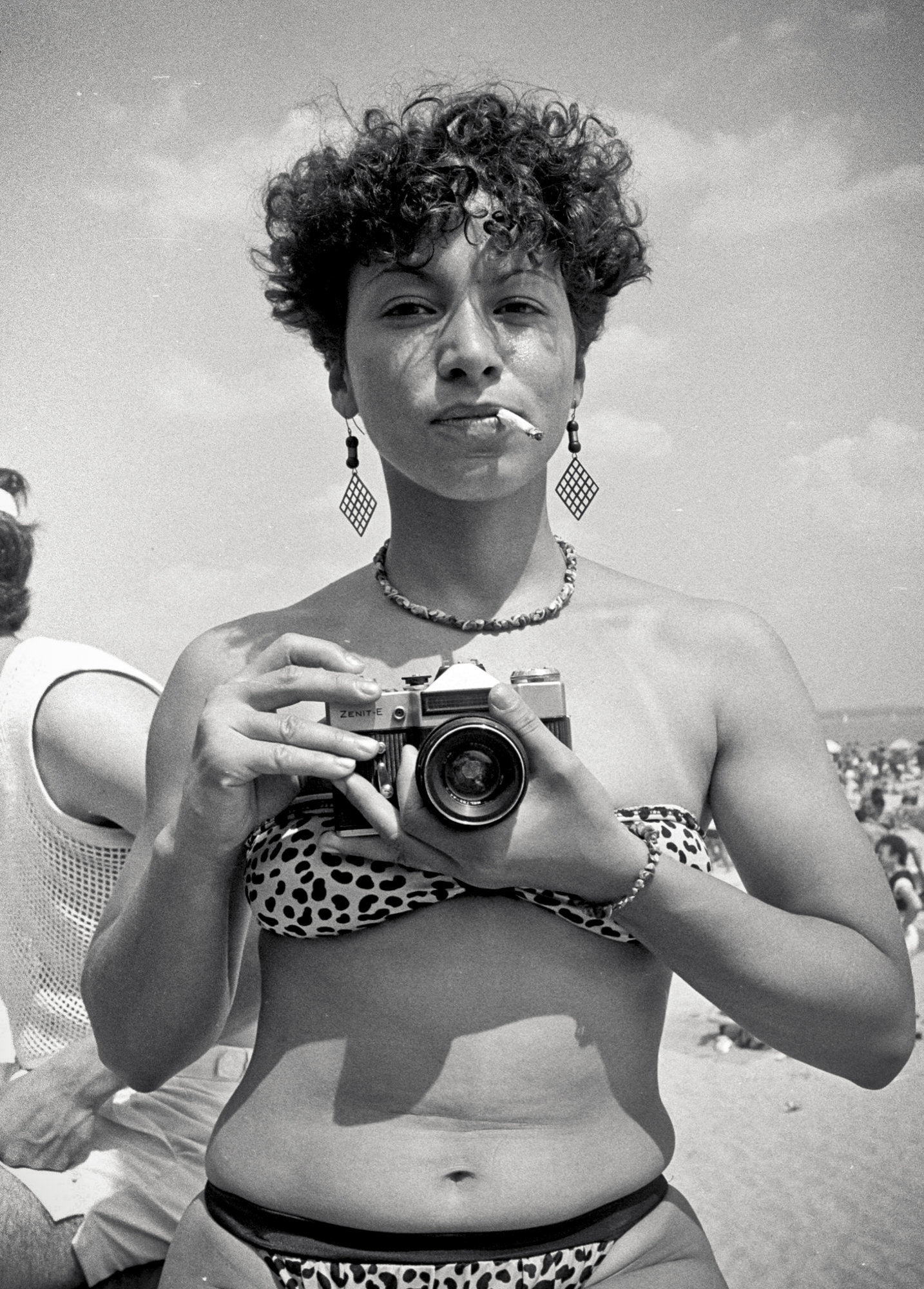 Carmen at Orchard Beach, 1984.  Photo by Ricky Flores