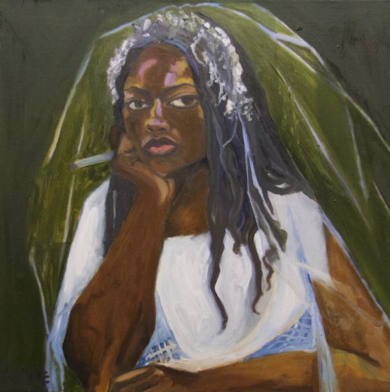 Kirke, Jemima, ShiShi in My Wedding Dress, 2017, Oil on canvas, 21 x 21 inches