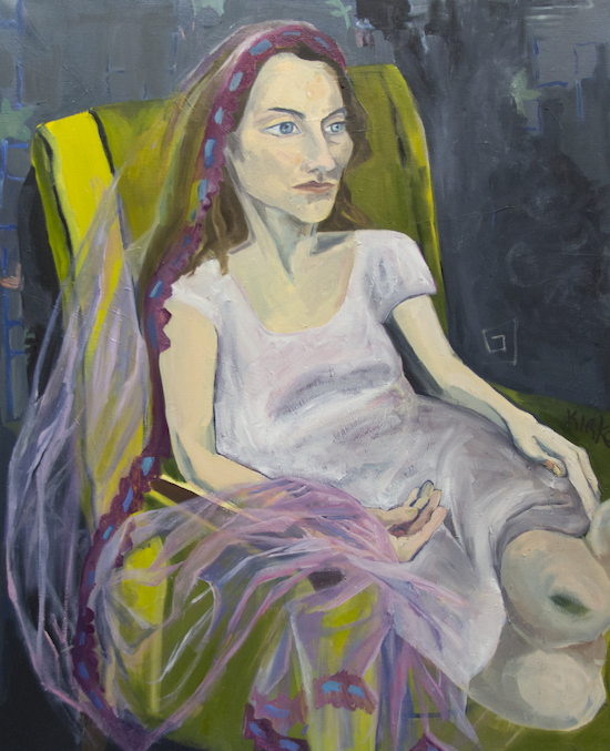 Kirke, Jemima, Woman on a Chair with Veil, 2017, Oil on canvas, 42 x 34 inches