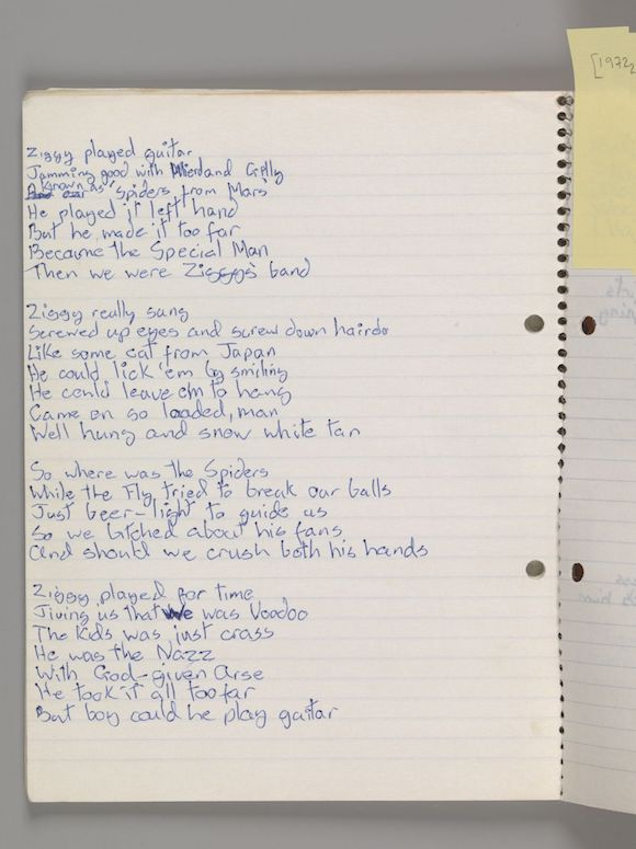 Original lyrics for 'Ziggy Stardust,' by David Bowie, 1972