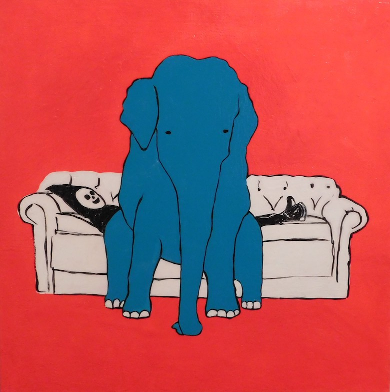 Brian Leo_ Elephant On Couch_20 inx20in_acrylic on canvas_2017_$1500