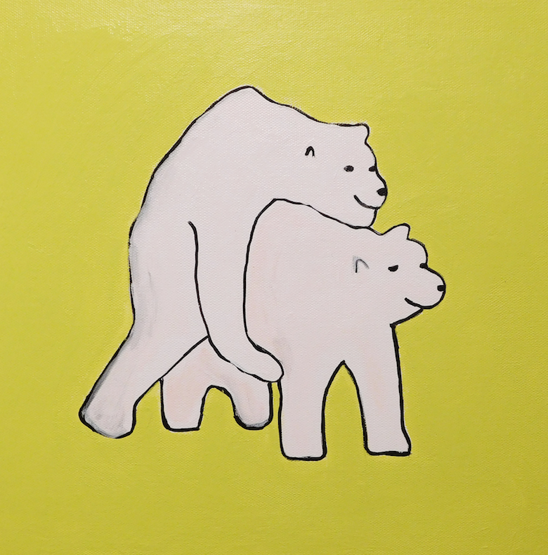 Brian Leo_ Polar Bears_12 inx12in_acrylic on canvas_2017_$500